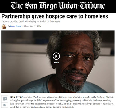 The San Diego Union-Tribune : Partnership gives hospice care to homeless